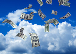 Flying dollars (Photo: Kativ, iStockPhoto.com)
