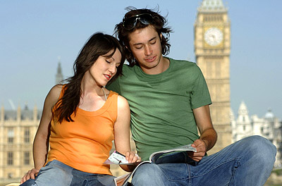 Couple sitting in front of Big Ben