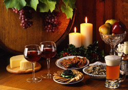 Holiday wine, cheese, and snacks (Photo: iStockphoto)