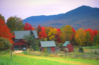 Red barn and fall leaves in rural Vermont