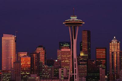 Seattle, WA - Night falls on the city