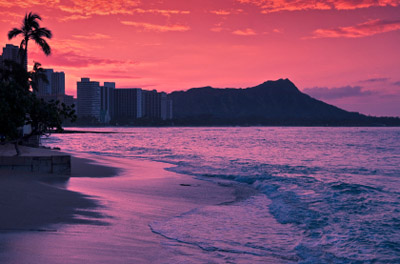 Hawaii: Waikiki Beach at Sunset
