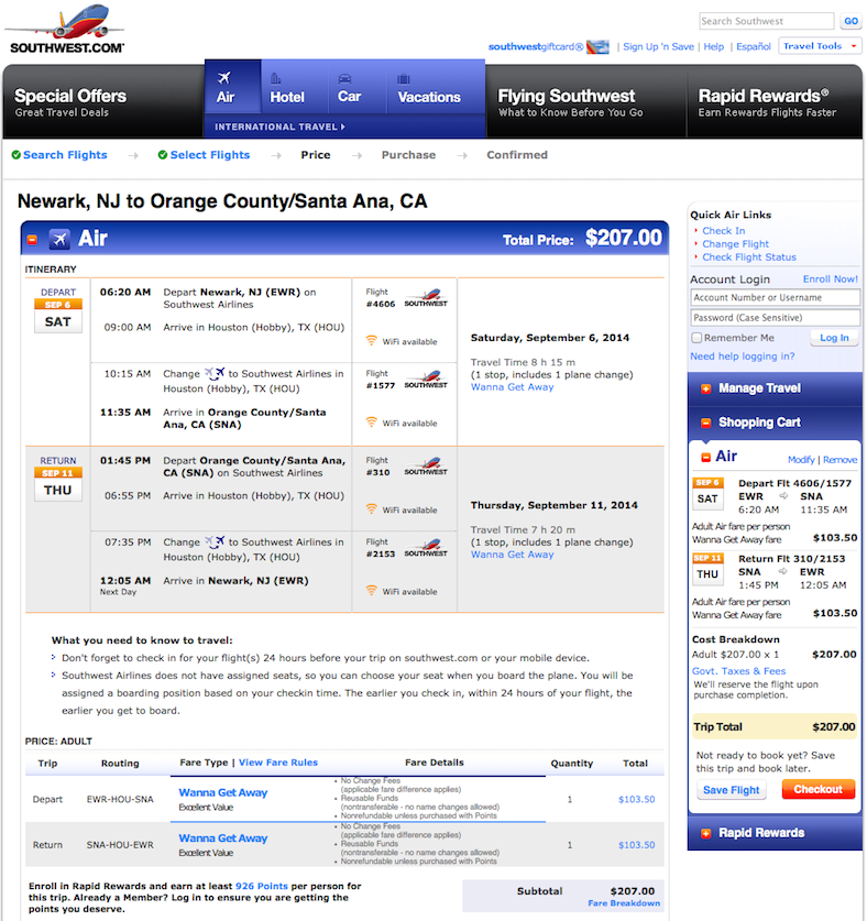 Domestic Fare of the Day: Newark to Santa Ana $207 round