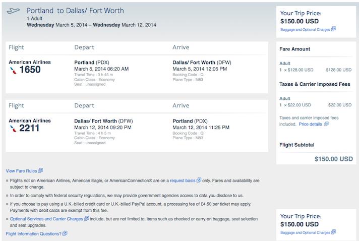 Domestic Fare of the Day: Portland to Dallas $150 round