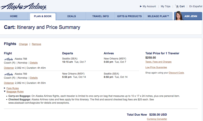 Domestic Fare of the Day: Seattle to New Orleans $258